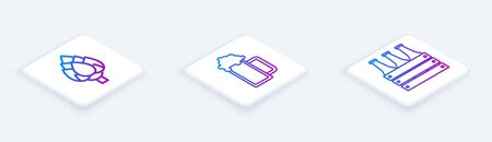 Set Isometric line Hop, Glass of beer and Pack of beer bottles. White square button. Vector Illusztráció