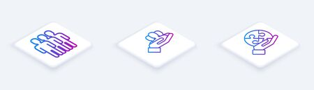 Set Isometric line Users group, Project team base and Piece of puzzle in hand. White square button. Vector