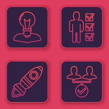 Set line Human head with lamp bulb, Rocket ship with fire, User of man in business suit and Project team base. Blue square button. Vector