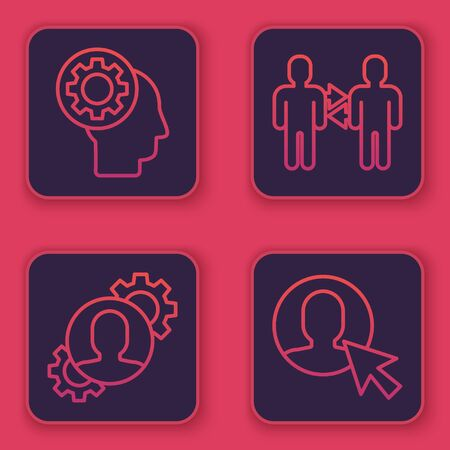 Set line Human head with gear inside, Human with gear inside, Project team base and User of man in business suit. Blue square button. Vector
