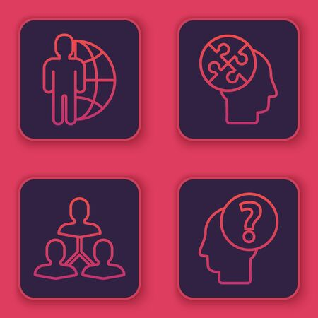Set line Globe and people, Project team base, Human head puzzles strategy and Human head with question mark. Blue square button. Vector