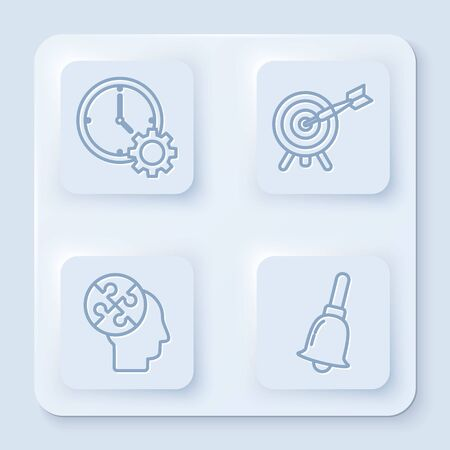 Set line Time Management, Target with arrow, Human head puzzles strategy and Ringing bell. White square button. Vector