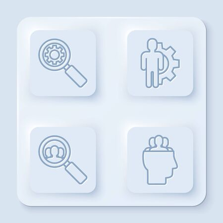 Set line Magnifying glass and gear, Human with gear inside, Magnifying glass for search a people and Project team base. White square button. Vector
