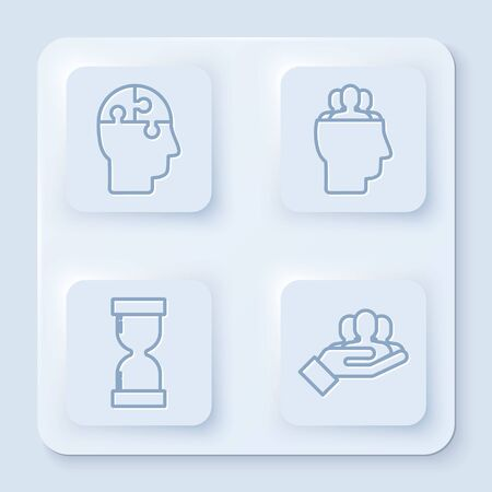 Set line Human head puzzles strategy, Project team base, Old hourglass with flowing sand and Project team base. White square button. Vector
