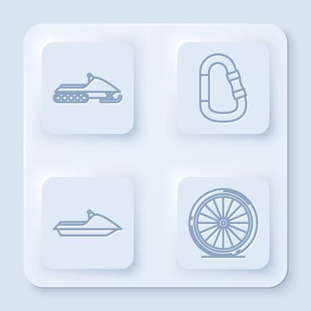 Set line Snowmobile, Carabiner, Jet ski and Bicycle wheel. White square button. Vector