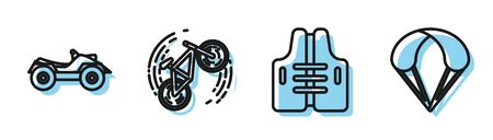 Set line Life jacket, All Terrain Vehicle or ATV motorcycle, Bicycle trick and Parachute icon. Vector Vectores