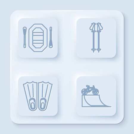 Set line Rafting boat, Ski poles, Rubber flippers for swimming and Bicycle on street ramp. White square button. Vector