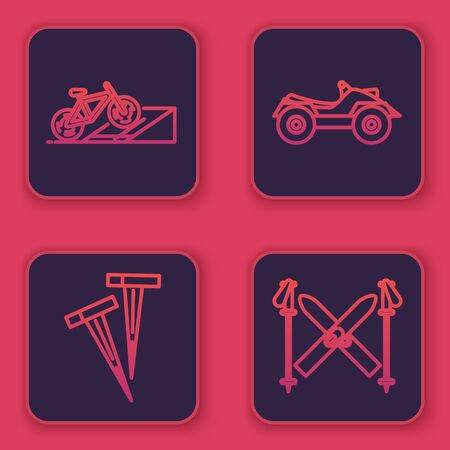 Set line Bicycle on street ramp, Pegs for tents, All Terrain Vehicle or ATV motorcycle and Ski and sticks. Blue square button. Vector