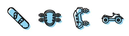 Set line Knee pads, Snowboard, Knee pads and All Terrain Vehicle or ATV motorcycle icon. Vector