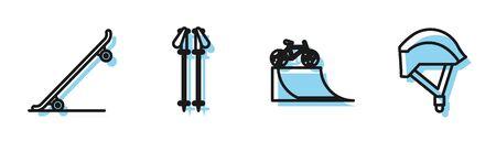 Set line Bicycle on street ramp, Skateboard, Ski poles and Bicycle helmet icon. Vector