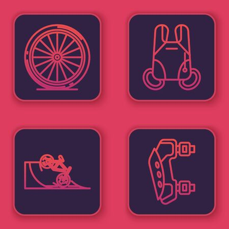 Set line Bicycle wheel, Bicycle on street ramp, Parachute and Knee pads. Blue square button. Vector