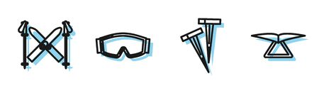 Set line Pegs for tents, Ski and sticks, Ski goggles and Hang glider icon. Vector