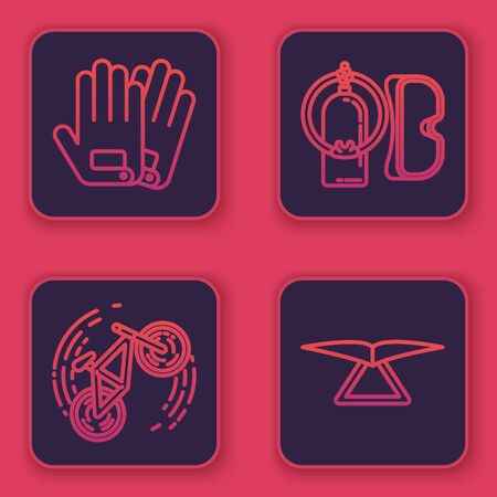 Set line Gloves, Bicycle trick, Diving mask and aqualung and Hang glider. Blue square button. Vector