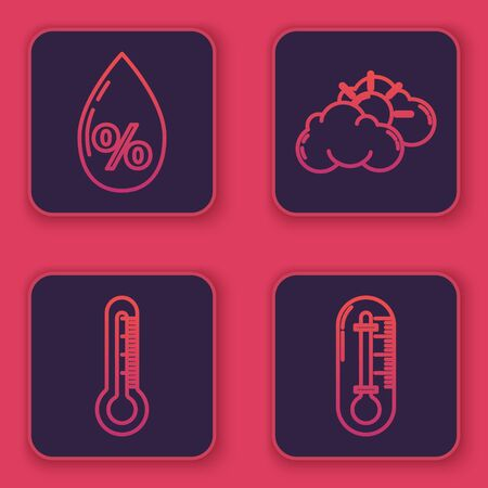 Set line Water drop percentage, Thermometer, Sun and cloud weather and Thermometer. Blue square button. Vector  イラスト・ベクター素材