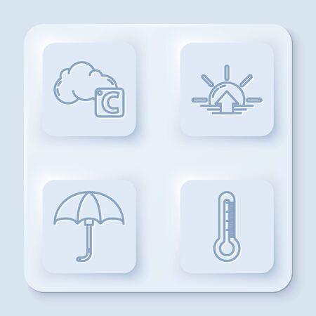 Linie Celsius und Wolke, Sonnenaufgang, klassischer eleganter geöffneter Regenschirm und Thermometer einstellen. Weißes Quadrat-Taste. Vektor Vektorgrafik