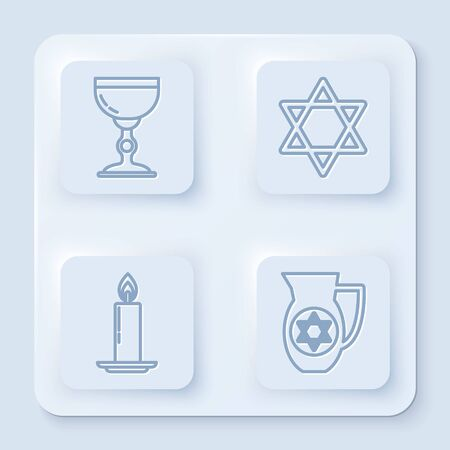 Set line Jewish goblet, Star of David, Burning candle in candlestick and Decanter with star of david. White square button. Vector