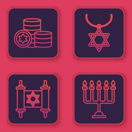 Set line Jewish coin, Torah scroll, Star of David necklace on chain and Hanukkah menorah. Blue square button. Vector