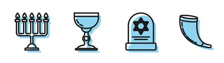 Set line Tombstone with star of david, Hanukkah menorah, Jewish goblet and Traditional ram horn, shofar icon. Vector Illustration