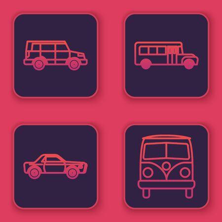 Set line Off road car, Sedan car, School Bus and Retro minivan. Blue square button. Vector