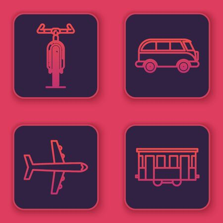 Set line Bicycle, Plane, Retro minivan and Old city tram. Blue square button. Vector Illustration