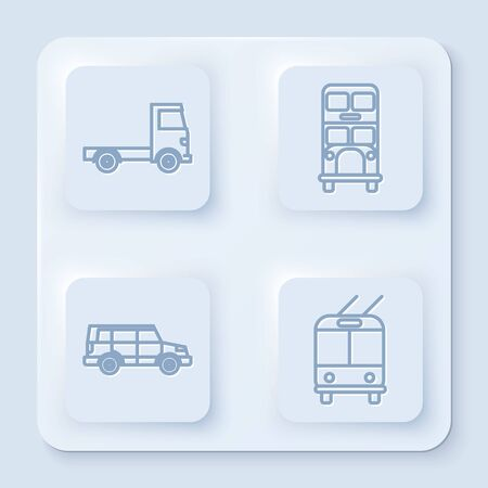 Set line Delivery cargo truck vehicle, Double decker bus, Off road car and Trolleybus. White square button. Vector