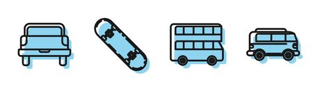 Set line Double decker bus, Pickup truck, Skateboard and Retro minivan icon. Vector