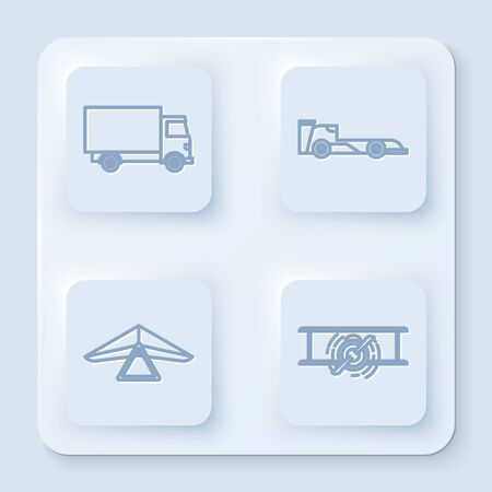 Set line Delivery cargo truck vehicle, Formula race car, Hang glider and Old retro vintage plane. White square button. Vector