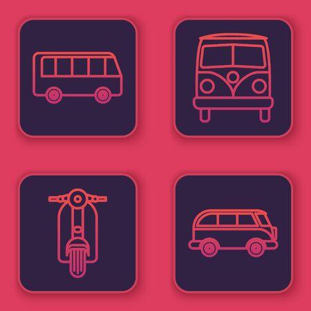 Set line Bus, Scooter, Retro minivan and Retro minivan. Blue square button. Vector Illustration