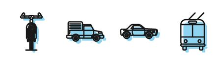 Set line Sedan car, Bicycle, Delivery cargo truck vehicle and Trolleybus icon. Vector Illustration