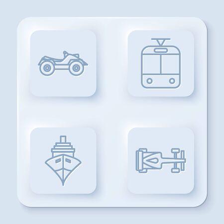 Set line All Terrain Vehicle or ATV motorcycle, Tram and railway, Cargo ship and Formula race car. White square button. Vector Ilustración de vector