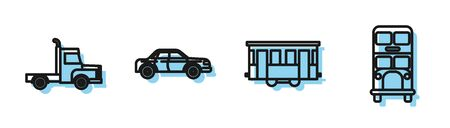 Set line Old city tram, Delivery cargo truck vehicle, Sedan car and Double decker bus icon. Vector