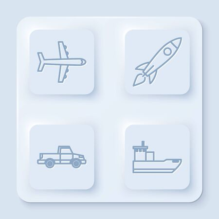 Set line Plane, Rocket ship with fire, Pickup truck and Cargo ship. White square button. Vector