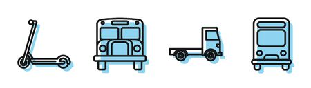 Set line Delivery cargo truck vehicle, Scooter, School Bus and Bus icon. Vector Illustration