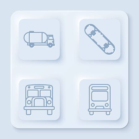 Set line Tanker truck, Skateboard, School Bus and Bus. White square button. Vector Illustration