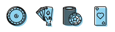 Set line Casino chips, Casino roulette wheel, Hand holding playing cards and Playing card with heart symbol icon. Vector