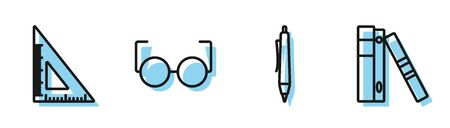 Set line Pen, Triangular ruler, Glasses and Office folders with papers and documents icon. Vector