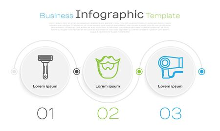 Set line Shaving razor, Mustache and beard and Hair dryer. Business infographic template. Vector