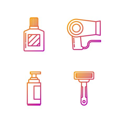 Set line Shaving razor, Cream or lotion cosmetic tube, Aftershave and Hair dryer. Gradient color icons. Vector