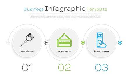 Set Linie Haarbürste, Barbershop und Rasiergelschaum. Business-Infografik-Vorlage. Vektor Vektorgrafik