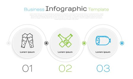 Set line Glass of beer, Crossed beer bottle and Salami sausage. Business infographic template. Vector Vettoriali