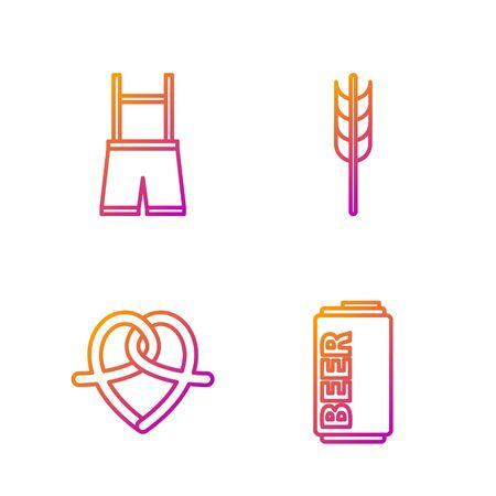 Set line Beer can, Pretzel, Lederhosen and Cereals set with rice, wheat, corn, oats, rye, barley. Gradient color icons. Vector Illustration