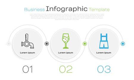 Set line Beer tap, Glass of beer and Lederhosen. Business infographic template. Vector