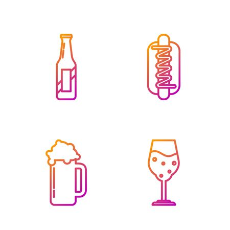 Set line Glass of beer, Glass of beer, Beer bottle and Hotdog sandwich with mustard. Gradient color icons. Vector Vettoriali