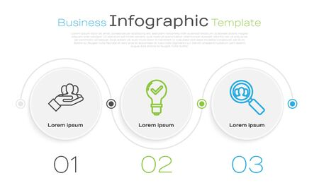 Set line Project team base, Light bulb and check mark and Magnifying glass for search a people. Business infographic template. Vector