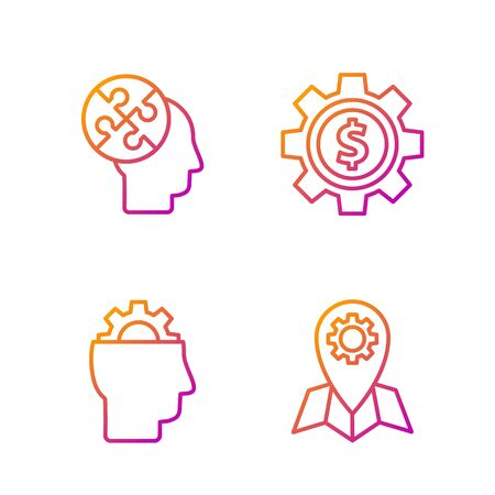 Set line Location job, Human with gear inside, Human head puzzles strategy and Gear with dollar symbol. Gradient color icons. Vector