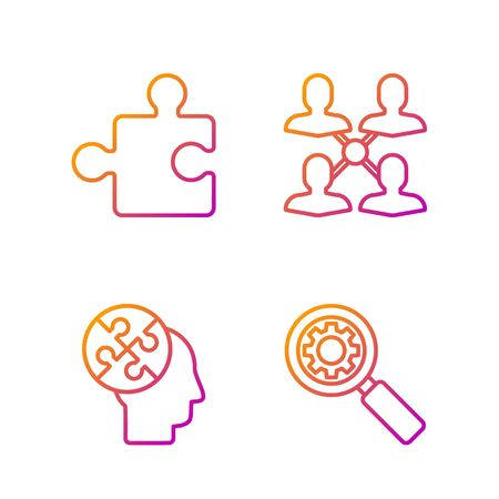 Set line Magnifying glass and gear, Human head puzzles strategy, Piece of puzzle and Project team base. Gradient color icons. Vector
