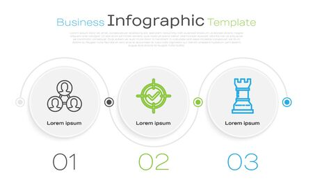 Set line Project team base, Target and check mark and Business strategy. Business infographic template. Vector