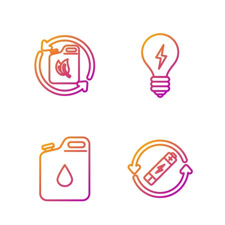 Set line Battery with recycle symbol line, Canister for gasoline, Bio fuel canister and Light bulb with lightning symbol. Gradient color icons. Vector Reklamní fotografie - 136977796