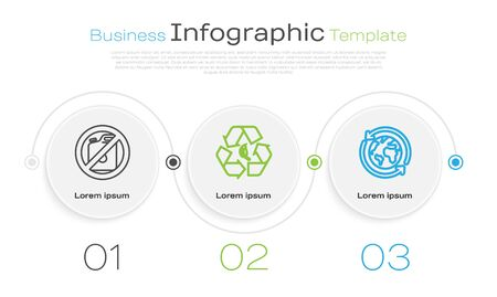 Set line No canister for gasoline, Recycle symbol and leaf and Planet earth and a recycling. Business infographic template. Vector
