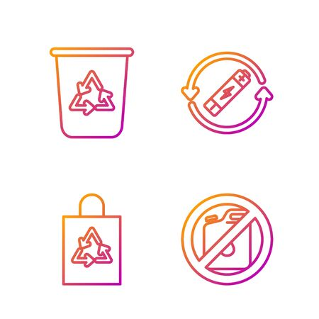 Set line No canister for gasoline, Plastic bag with recycle, Recycle bin with recycle symbol and Battery with recycle symbol line. Gradient color icons. Vector